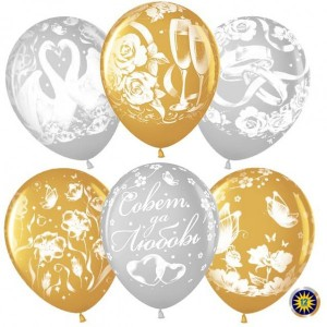 Шар (12''/30 см) Белоснежные лебеди (свадьба), Серебро (801)/Золото (818), металлик, 5 ст, 50 шт.