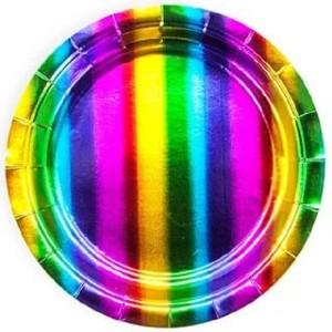 Тарелки (7''/18 см) Радужный, Голография, 6 шт.