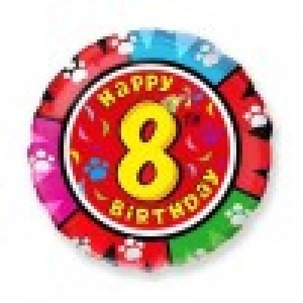Фольгированный шар 45 см Цифра 8 (Разноцветный)