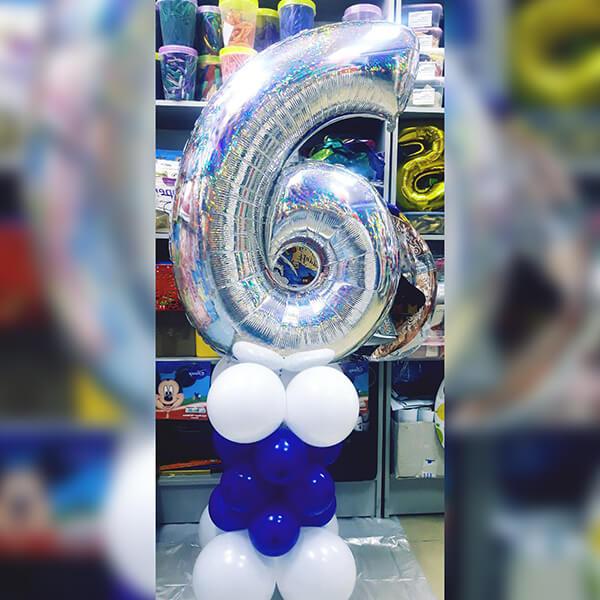 Цифра фольгированная 102 см на подставке из шаров