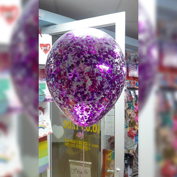 """Латексный шар с конфетти 30см 12"""" (квадратики, ярко розовые)"""
