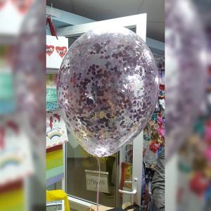 """Латексный шар с конфетти 30см 12"""" (квадратики, розовое золото)"""