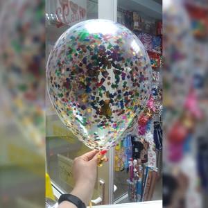 """Латексный шар с конфетти 30см 12"""" (квадратики, разноцветные)"""