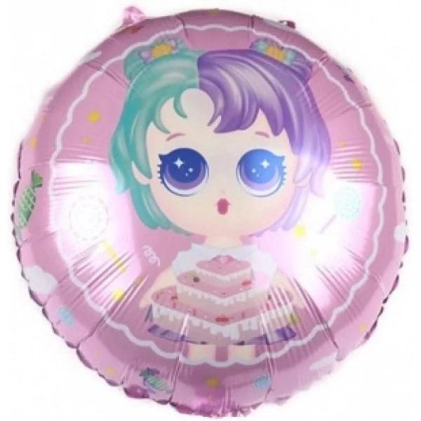 Шар (18''/46 см) Круг, Модная кукла (разноцветные локоны), Нежно-розовый