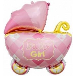 Шар (35''/89 см) Фигура, Коляска для девочки, Розовый
