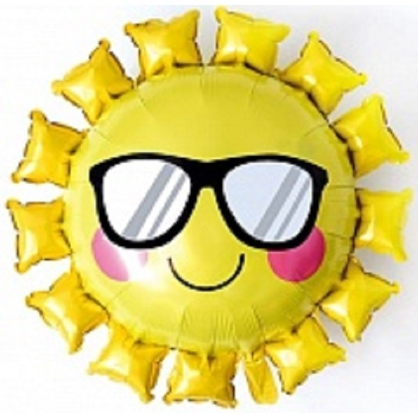 Шар (31''/79 см) Фигура, Солнце в солнечных очках, Желтый, 1 шт.