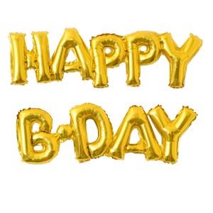 Y Фигура 88 буквы HAPPY B-DAY GOLD 59см Х 90см шар фольга
