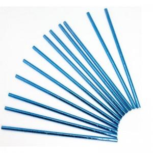Трубочки для коктейлей Синий, металлик 12 шт.