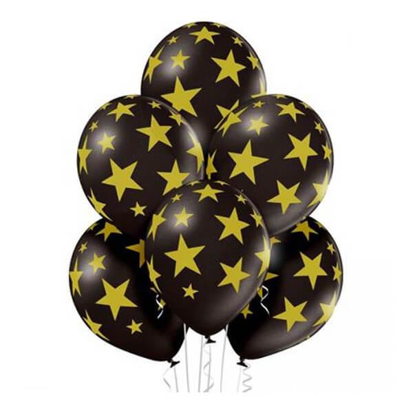 """Латексный шар с рисунком 30см 12"""" (Золотые звезды)"""