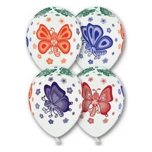 """Латексный шар с рисунком пастель 30см 12"""" (Бабочки)"""