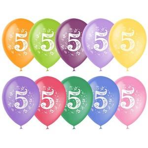 """Латексный шар с рисунком 30см 12"""" (Цифра Пять)"""