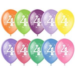"""Латексный шар с рисунком 30см 12"""" (Цифра Четыре)"""