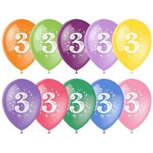 """Латексный шар с рисунком 30см 12"""" (Цифра Три)"""