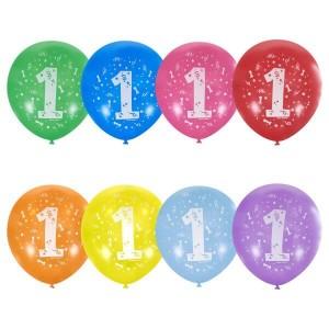 """Латексный шар с рисунком 30см 12"""" (Цифра Один)"""