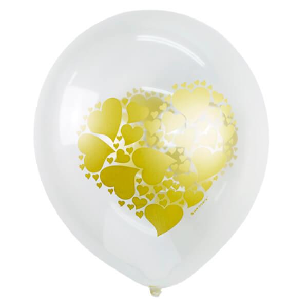 """Латексный шар с рисунком 30см 12"""" (Сердце золото)"""