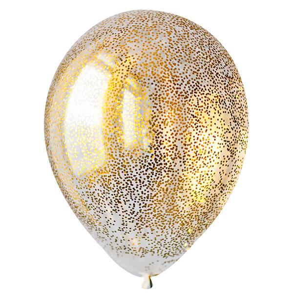 """Латексный шар с конфетти 30см 12"""" (шестиугольник, золото)"""