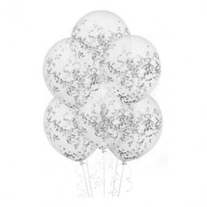 Латексный шар с конфетти 35см (Серебро)