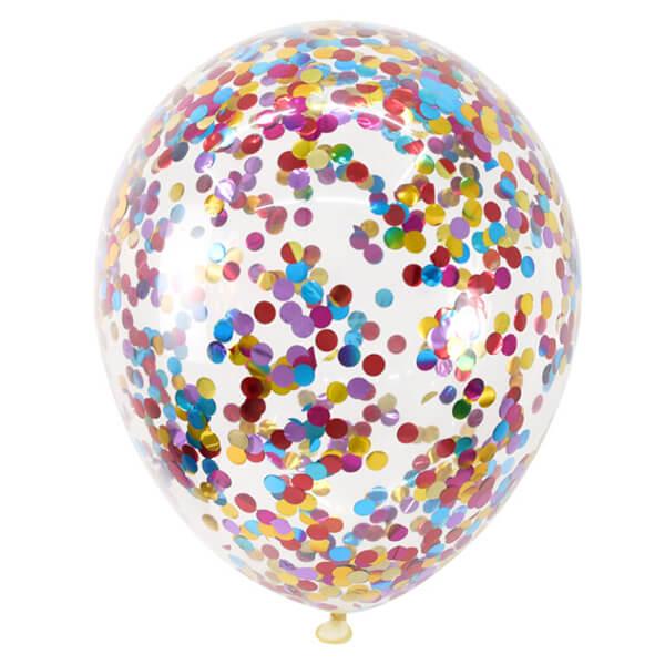 Латексный шар с конфетти 35см (Круги, Ассорти)