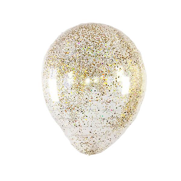 Латексный шар с конфетти 35см (Блестки Золото)