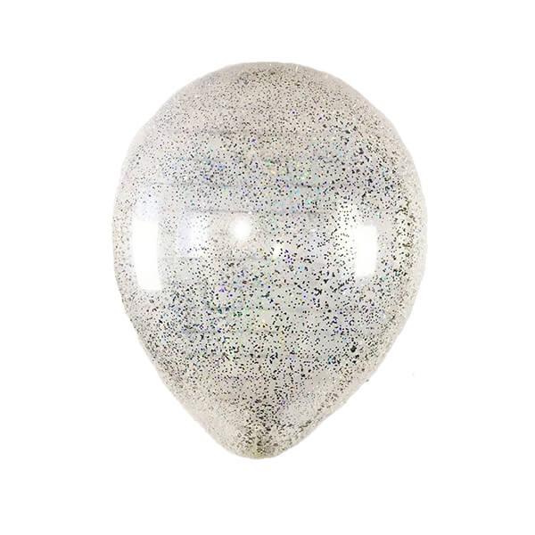 Латексный шар с конфетти 35см (Блестки Серебро)