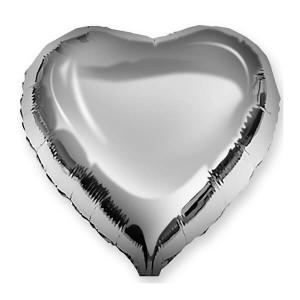 Фольгированный шар Сердце 45 см (Серебро)