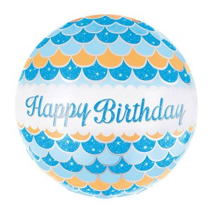 Фольгированный шар Круг 46 см Волны (Голубой)