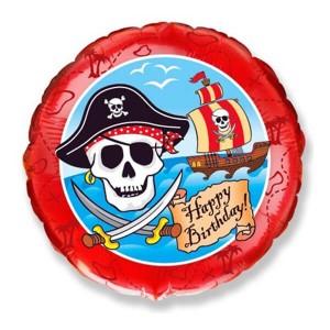 Фольгированный шар Круг 46 см Пират (Красный)