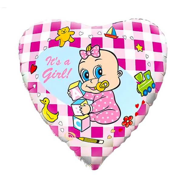 Фольгированный шар Сердце 45 см Новорожденная девочка (Розовый)
