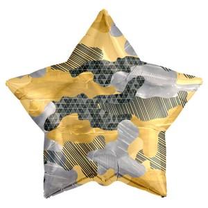 Фольгированный шар Звезда 52 см Камуфляж, Военный (Золото)