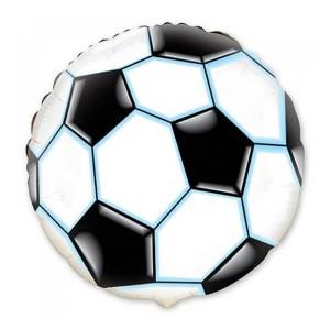 Фольгированный шар Круг 45 см Футбольный мяч (Белый)