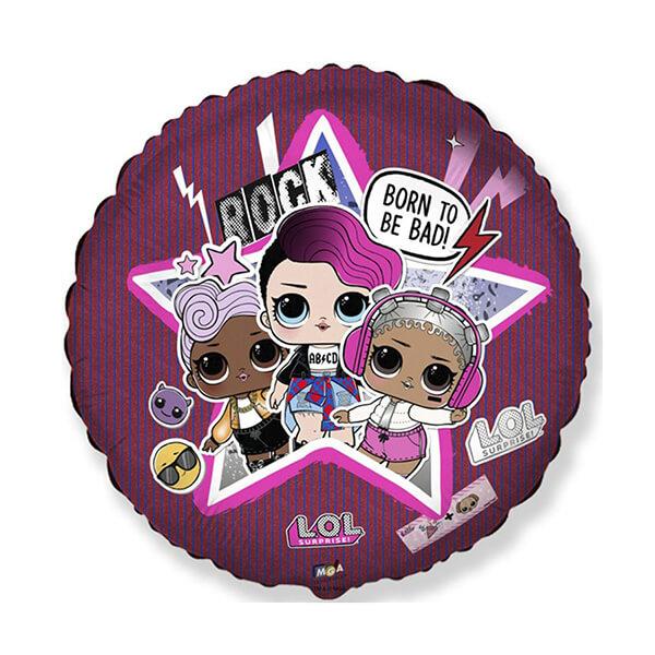 Фольгированный шар Круг 45 см LOL Рок-звезды (Розовый)