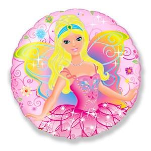 Фольгированный шар Круг 45 см Фея (Розовый)