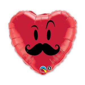 Фольгированный шар Сердце 45 см Усы (Красный)