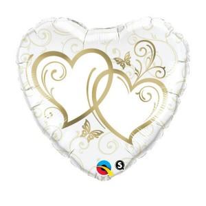 Фольгированный шар Сердце 45 см Сердца переплетенные (Белый)
