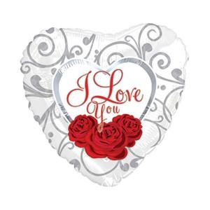 Фольгированный шар Сердце 45 см Я люблю тебя (Белый)