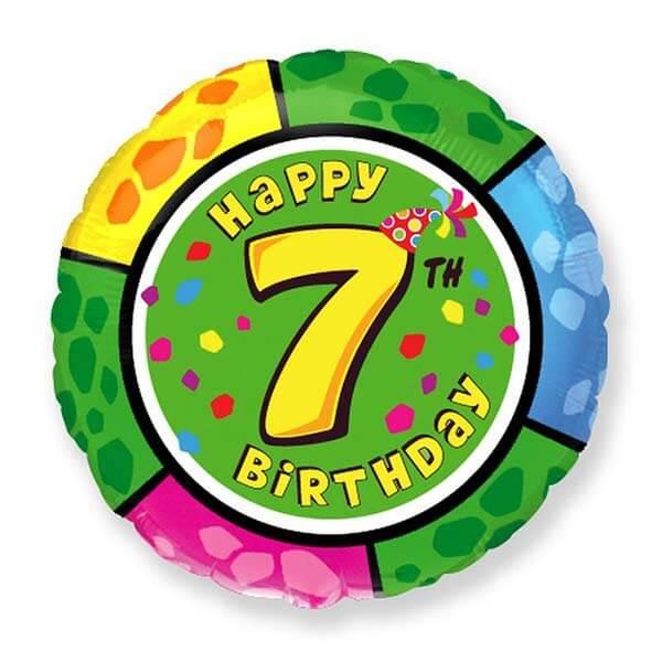 Фольгированный шар 45 см Цифра 7 (Разноцветный)