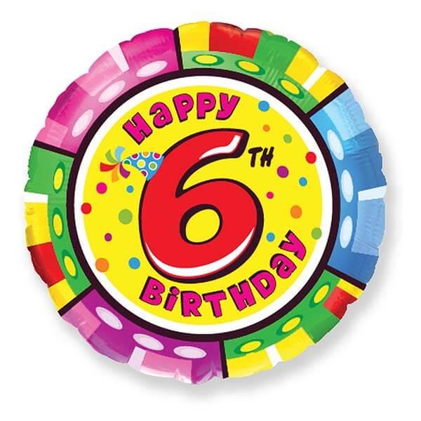 Фольгированный шар 45 см Цифра 6 (Разноцветный)
