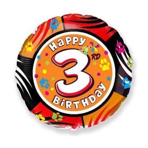 Фольгированный шар 45 см Цифра 3 (Разноцветный)