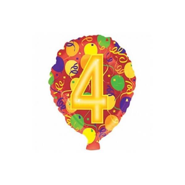 Фольгированный шар 45 см Цифра 4 (Разноцветный)