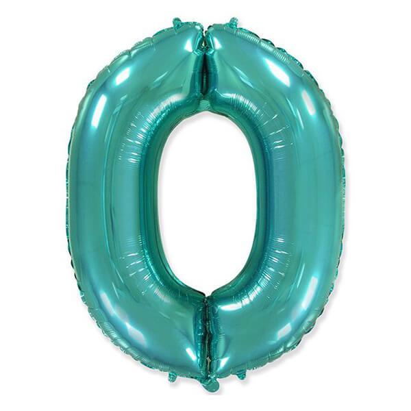 Фольгированный шар 102 см Цифра 0 (Тиффани)
