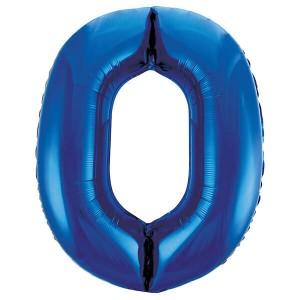 Фольгированный шар 102 см Цифра 0 (Синий)