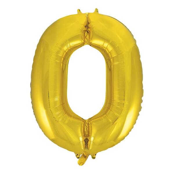 Фольгированный шар 102 см Цифра 0 (Золото)