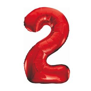 Фольгированный шар 102 см Цифра 2 (Красный)