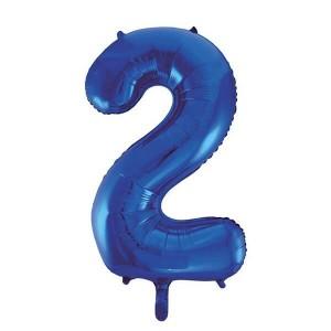 Фольгированный шар 102 см Цифра 2 (Синий)