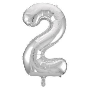 Фольгированный шар 102 см Цифра 2 (Серебро)