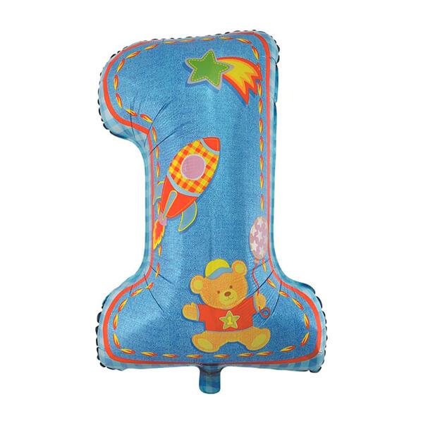 Фольгированный шар 102 см Цифра 1 Первый день рождения, Мальчик (Голубой)