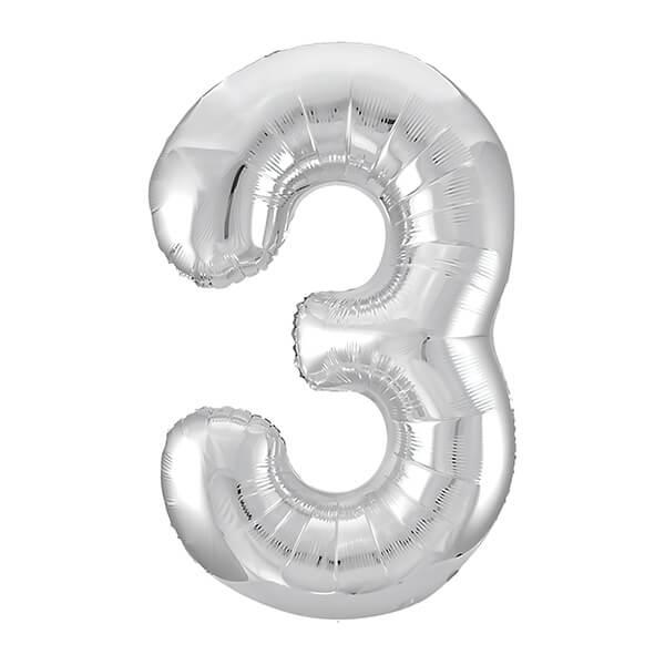 Фольгированный шар 102 см Цифра 3 (Серебро)