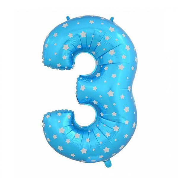 Фольгированный шар 102 см Цифра 3 Звезды (Синий)