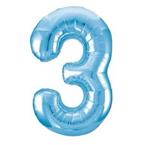 Фольгированный шар 102 см Цифра 3 (Голубой)