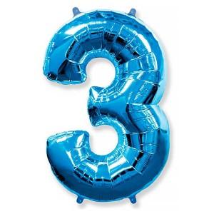 Фольгированный шар 102 см Цифра 3 (Синий)